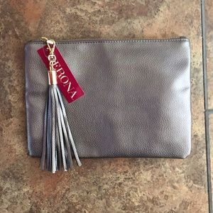 Merona pewter silver pouch clutch make up bag gold